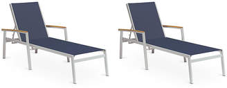 Oxford Garden Blue Travira Chaises w/Teak - Set of 2