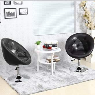 TRYIF Adjustable PU Leather Chair Modern Swivel Armchair Round Tufted Back Accent Chair Comfortable Household Office Seat