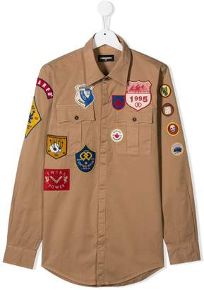 DSQUARED2 TEEN badge detail shirt