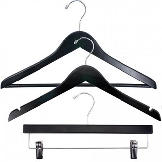 Laundry by Shelli Segal NAHANCO Economy Wood Clothes Hanger Kit - Black w/Chrome Hardware - Home Use