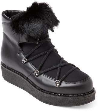 Elena Black Trimmed Leather Lace-Up Boots