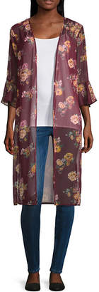 Almost Famous Long Sleeve Floral Kimono-Juniors