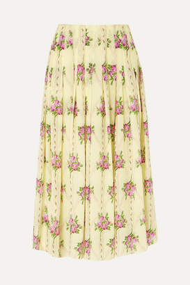 8cd14be730 Emilia Wickstead Pleated Floral-print Silk Crepe De Chine Midi Skirt -  Yellow