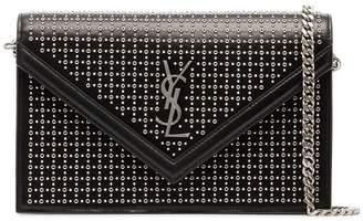 Saint Laurent black leather stud Le Sept Envelope Bag