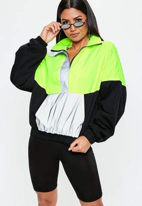 Missguided Neon Green Colour Block Reflective Windbreaker Jacket