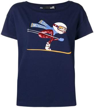 Love Moschino sequin ski T-shirt
