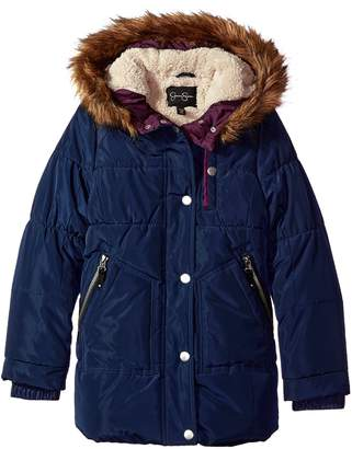 Jessica Simpson Fancy  Big Girls' Heavyweight Jacket with Cozy Hood Trim