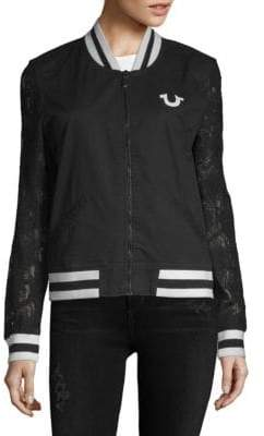 True Religion Lace-Sleeve Cotton Bomber Jacket