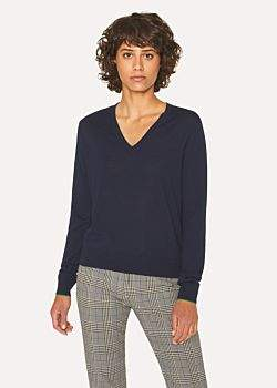 Paul Smith Women's Navy V-Neck Wool Sweater
