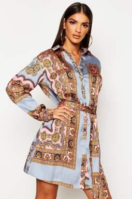 boohoo Paisley Print Shirt Dress
