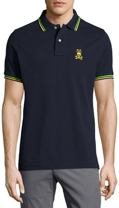 Psycho Bunny Neon Bunny Stripe-Trim Polo Shirt $85 thestylecure.com