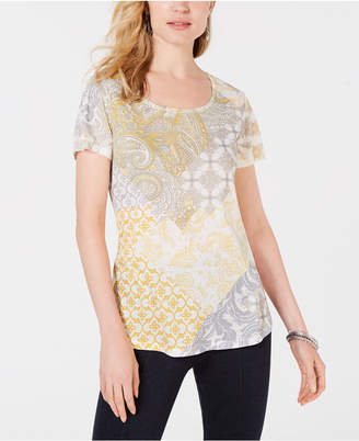 Style&Co. Style & Co Printed Scoop-Neck Short-Sleeve Top