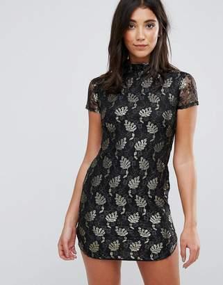 AX Paris Lace Metallic Leaf Shift Dress