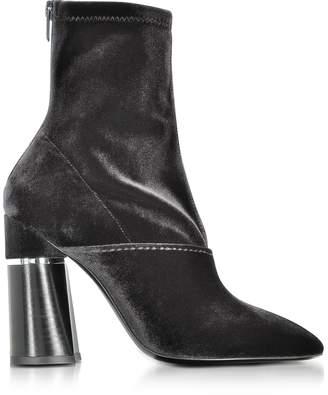 3.1 Phillip Lim Kyoto Black Velvet Stretch High Heel Ankle Boots
