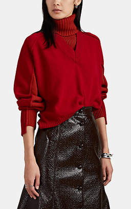 Cédric Charlier Women's Layered Colorblocked Wool-Blend Sweater - Red Pat.