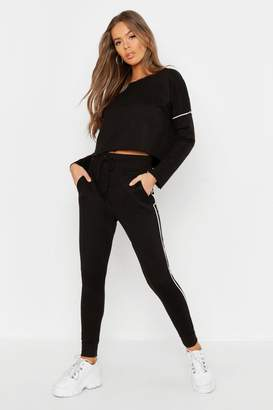 boohoo Raw Edge Cropped Sweat & Piping Detail Jogger Set