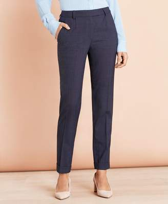 Brooks Brothers Plaid Stretch-Wool Pleat-Front Pants