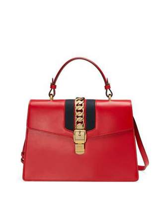Gucci Sylvie Leather Top-Handle Satchel Bag, Red $2,890 thestylecure.com