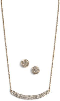 Nina Pave Swarovski Crystal Necklace & Stud Earrings Set