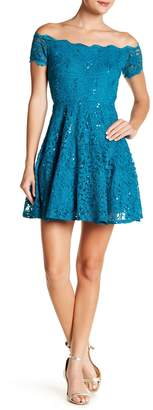 Jump Off-the-Shoulder Sequin Lace Fit & Flare Dress