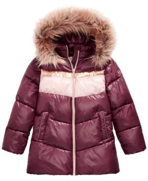 Michael Kors Michael Big Girls Fur Trim Hooded Colorblocked Puffer Jacket