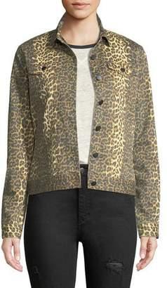 ATM Anthony Thomas Melillo Leopard-Print Button-Front Denim Jacket
