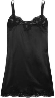 Dolce & Gabbana Lace-Trimmed Silk-Blend Satin Chemise