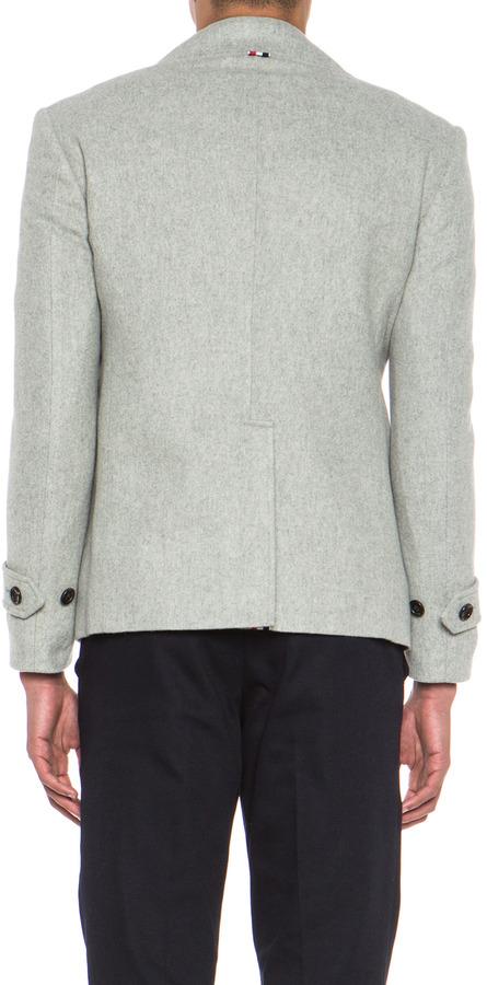 Thom Browne Fit Peacoat in Light Grey
