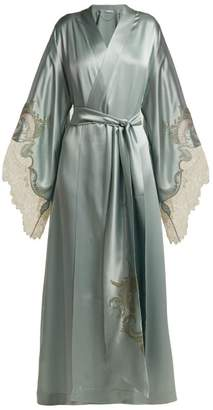 Carine Gilson Lace Trimmed Silk Kimono Robe - Womens - Light Blue