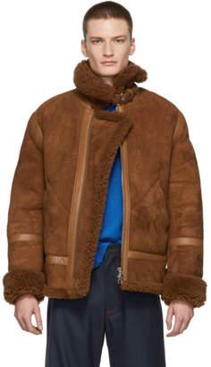 Acne Studios Brown Shearling Ian Aviator Jacket