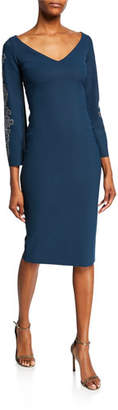 Chiara Boni V-Neck Long-Sleeve Sheath Dress with Embroidery