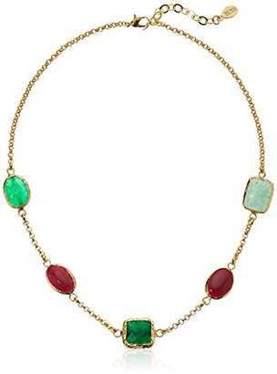 ELYA Jewelry Womens Gold IP Green and Red Dyed Chalcedony Necklace