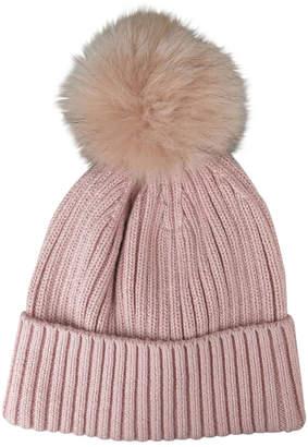 Morgan & Taylor Basic Fur Pom Pom Beanie W1041