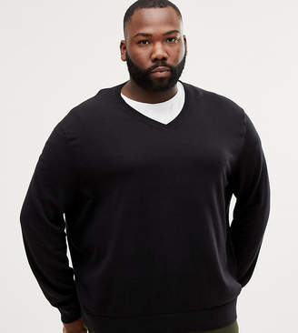 Burton Menswear Big & Tall v neck jumper in black