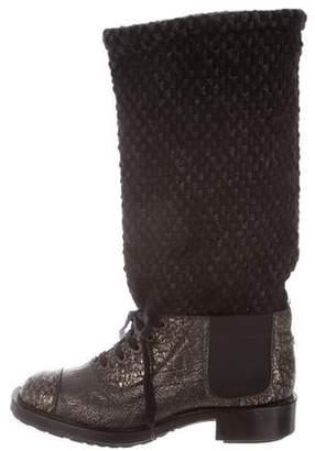 Chanel Metallic CC Cap-Toe Booties