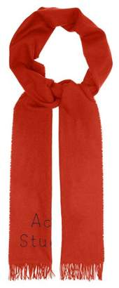 Acne Studios Skinny Logo Wool Twill Scarf - Womens - Orange