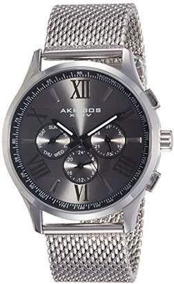 Akribos XXIV Men's AK844SSB Round Black Radiant Sunburst Dial Two Time Zone Quartz Staniless Steel Bracelet Watch