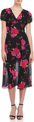 Betsey Johnson Floral Babydoll Midi Dress