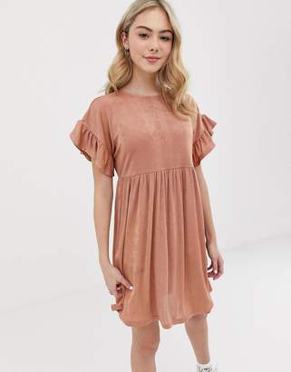 Asos Design DESIGN metallic frill sleeve smock dress