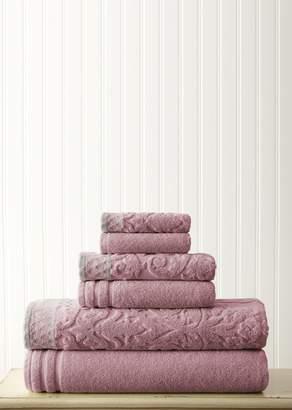 Amrapur Overseas Embellished Border Damask Jacquard Towel 6-Piece Set - Dusty Plum