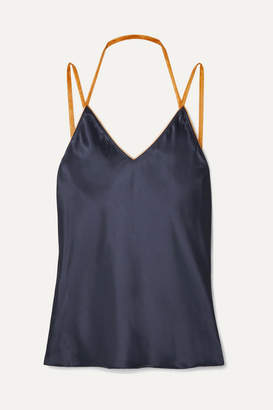 Helmut Lang Tulle-trimmed Satin Camisole - Midnight blue