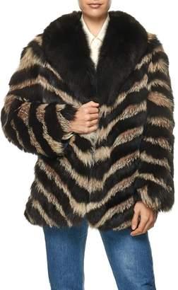 Vintage Color Block Fox Fur Cropped Jacket