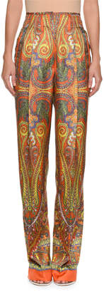Etro High-Waist Paisley-Print Silk Pants