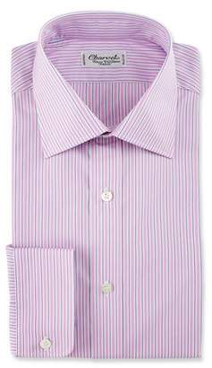 Charvet Striped Cotton Dress Shirt, Pink/Purple
