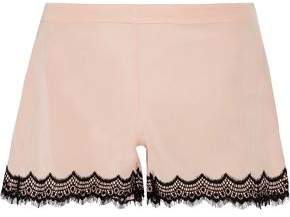 Mimi Holliday Bisou Bisou Zoo Stretch-Silk Satin And Lace Pajama Shorts