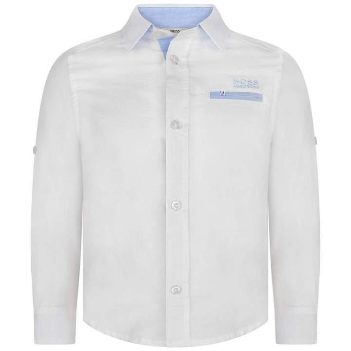 BOSS KidsBoys White Linen Long Sleeve Shirt