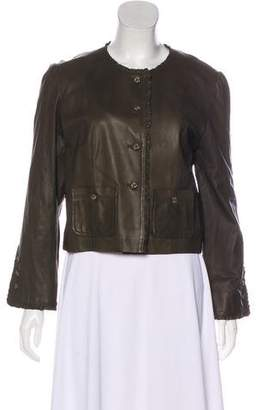 Chloé Ruffle-Trimmed Leather Jacket