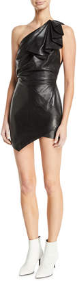 Alexandre Vauthier One-Shoulder Ruffle Sleeveless Body-Con Leather Mini Dress