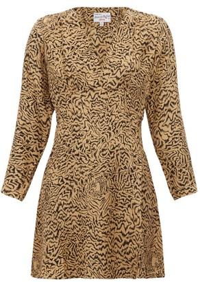 HVN Hoover Tiger Print Silk Crepe Mini Dress - Womens - Brown