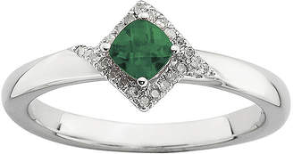 JCPenney FINE JEWELRY Personally Stackable 1/10 CT. T.W. Diamond and Lab-Created Emerald Ring